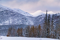 Snow covered mountains in the foothills of the Brooks mountain range, Wiseman, Alaska