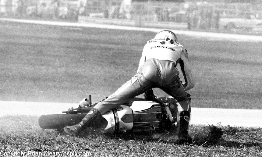 Daytona 200 motorcycle action , Daytona International Speedway, Daytona Beach, FL, March 1983.  (Photo by Brian Cleary/www.bcpix.com)