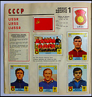 BNPS.co.uk (01202 558833)<br /> Pic: BerkshireAuctionRooms/BNPS<br /> <br /> At the height of the Cold War the Soviet Union competed as the CCCP.<br /> <br /> A schoolboy's precious pennies have turned into &pound;1200 as a complete Panini sticker album from the legendary 1970 World Cup has emerged for auction.<br /> <br /> Not only did Mexico 70 give rise to some of the most famous World Cup moments of all time, it also launched the Panini brothers as a global brand and led to frantic playground swapping up and down Britain.<br /> <br /> The tournament held 47 years ago is often cited as the greatest World Cup. With 'the most beautiful goal of all time', Gordon Bank's save, Gerd Muller up front for Germany and Bobby Moore v Pele the tournament had everything.<br /> <br /> The complete album is being sold by Berkshire Auction Rooms on Saturday.