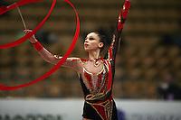 "Viktoriya Lenyshyn of Ukraine performs with ribbon at 2008 World Cup Kiev, ""Deriugina Cup"" in Kiev, Ukraine on March 22, 2008."