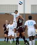 07 September 2007: North Carolina's Tobin Heath (98) and Texas A&M's Ashlee Pistorius (24) challenge for a header. The University of North Carolina Tar Heels defeated the Texas A&M University Aggies 2-1 at Fetzer Field in Chapel Hill, North Carolina in an NCAA Division I Women's Soccer game, and part of the annual Nike Carolina Classic tournament.