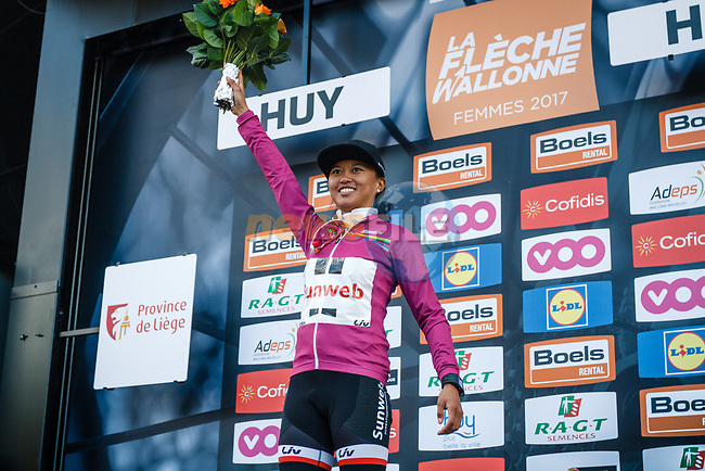 World Tour leader Coryn Rivera (USA) Team Sunweb Women finishes in 7th on the podium at the end of La Fleche Wallonne Femme 2017, Huy, Belgium. 19th April 2017.  Photo by Thomas van Bracht / PelotonPhotos.com