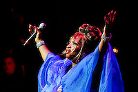 New York, United States. 23th March 2014 - Singer Annisa Gathers performs during a special concert to commemorate the life and legacy of Celia Cruz at the Apollo theater in Harlem, New York. Photo by Eduardo Munoz Alvarez/VIEW