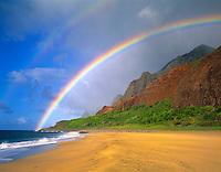Rainbow at Kalalau Beach, Na Pali Coast State Park, Island of Kauai, Hawaii   Kalalau Trail