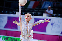 YULIYA ISACHANKA, junior from Belarus performs with ball at 2016 European Championships at Holon, Israel on June 18, 2016.