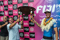 Namotu Island Resort, Namotu, Fiji. (Thursday June 5, 2014) Scotty O'Connor (AUS) co-owner of Namotu Island where Medina was staying recieves the perpetual trophy awarded between the rival islands of Tavarua and Namotu where all the surfers stay.&ndash; The 2014 Fiji Pro was won by Gabriel Medina (BRA) this morning after defeating USA's Nat Young (USA) in the 40 minute final. Medina had defeated Kolohe Andino (USA) in the first semi final and Young had defeated Michel Bourez (PYF) in their semi final.<br />