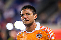 Brian Ching (25) of the Houston Dynamo. The New York Red Bulls defeated the Houston Dynamo 2-0 during a Major League Soccer (MLS) match at Red Bull Arena in Harrison, NJ, on August 10, 2012.