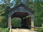 The Pine Brook Bridge, a covered bridge in Waitsfield, Vermont, built 1870
