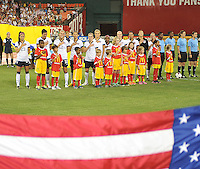 USWNT at the signing of the National Anthem. The USWNT defeated Mexico 7-0 during an international friendly, at RFK Stadium, Tuesday September 3, 2013.