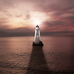 A white lighthouse with sunset and calm sea