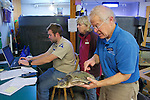 Bob Prescott, Michael Sprague & Judith Rhome, Examining Olive Ridley Sea Turtle, Sanctuary Director, Welfleet Bay Wildlife Sanctuary, Audubon