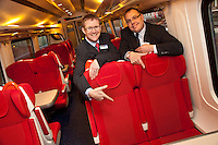 Pictured are David Horne, Managing Director of East Midlands Trains (left) and Steve Butcher, Chief Operating Officer of Northern Rail at the launch of the extra seats for passengers