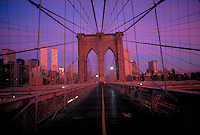 New York, New York City, Brooklyn Bridge and Lower Manhattan Skyline, Twin Towers, World Trade Center