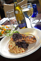 Grilled Salmon with a Grape Compote, Israeli Cous Cous and Delicata Squash at the Boat House in Tiverton.