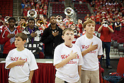 Ballboys, from left, Houston Fowler, Harrison Singleton and Hamilton Fowler, NC State University vs Princeton at the RBC Center, Raleigh, NC, Wednesday, November 16, 2011. .