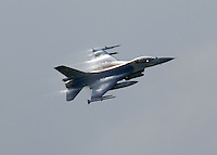A Belgian F-16 during Tiger Air show.  Nato Tiger Meet is an annual gathering of squadrons using the tiger as their mascot. While originally mostly a social event it is now a full military exercise. Tiger Meet 2012 was held at the Norwegian air base &Oslash;rlandet.