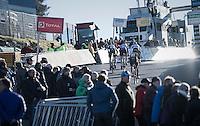 Foursome in pursuit of race leader Quinten Hermans (BEL/U23/Telenet-Fidea) up the Raidillon climb during the U23 men's race<br /> <br /> 2016 CX Superprestige Spa-Francorchamps (BEL)