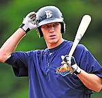 21 August 2010: Brooklyn Cyclones outfielder Cody Holliday awaits his turn in the batting cage prior to a game against the Vermont Lake Monsters at Centennial Field in Burlington, Vermont. The Cyclones defeated the Lake Monsters 8-7 in a 12-inning game that had to be resumed in Brooklyn on August 31 due to late inning rain. Mandatory Credit: Ed Wolfstein Photo