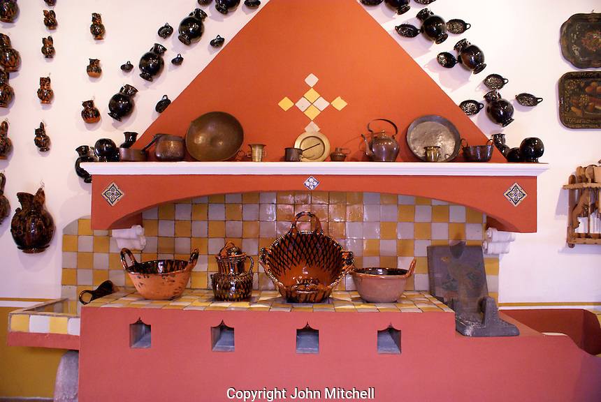 Spanish colonial kitchen in  the  Museo Casa del Alfenique, Puebla, Mexico. The historical center of Puebla is a UNESCO World Heritage Site.