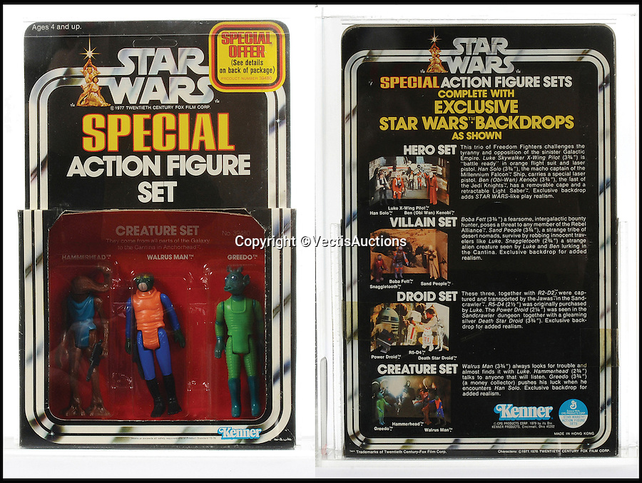 BNPS.co.uk (01202 558833)<br /> Pic: Vectis/BNPS<br /> <br /> Kenner Star Wars 3-Pack Series 2 Creature 3 3/4&quot; vintage figure set including Hammerhead, Walrus Man and Greedo sold for &pound;3,600.<br /> <br /> A tiny plastic rocket from a Star Wars action figure has sold for almost &pound;2,000 as part of a huge &pound;160,000 sale of rare toys relating to the film franchise.<br /> <br /> The red missile measures just 28mm long and was attached to the back of a prototype figure of bounty hunter Boba Fett.<br /> <br /> A complete prototype Boba Fett can sell for &pound;13,000 but thanks to a letter of authentication and grading by the Action Figure Authority (AFA), the small rocket made &pound;1,920 by itself at auction.<br /> <br /> It was one of almost 700 Star Wars lots that sold for &pound;160,000, with many toys that originally sold for &pound;1.50 achieving four-figure sums.<br /> <br /> With the release of Star Wars:The Force Awakens imminent, interest in memorabilia from the franchise has never been higher.