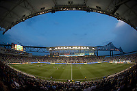 The first half draws to a close during a Major League Soccer game at PPL Park in Chester, PA.  Philadelphia Union tied the Portland Timbers, 0-0.