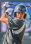 21 July 2016: Hudson Valley Renegades infielder Miles Mastrobuoni warms up prior to a game against the Vermont Lake Monsters at Centennial Field in Burlington, Vermont. The Lake Monsters edged out the Renegades 4-3 in NY Penn League play. Mandatory Credit: Ed Wolfstein Photo *** RAW (NEF) Image File Available ***