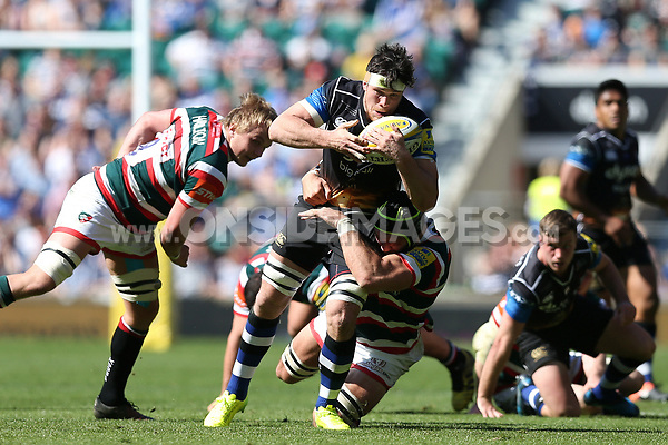 Francois Louw of Bath Rugby takes on the Leicester Tigers defence. The Clash, Aviva Premiership match, between Bath Rugby and Leicester Tigers on April 8, 2017 at Twickenham Stadium in London, England. Photo by: Rogan Thomson / JMP for Onside Images