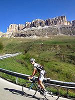 Ascending Passo Pordoi, in the heart of the Dolomites, Südtirol (South Tyrol), Italy.