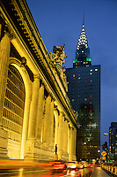 Grand Central Station, Grand Hyatt,  and Chrysler Building at Night, New York City, NY, 42 Street
