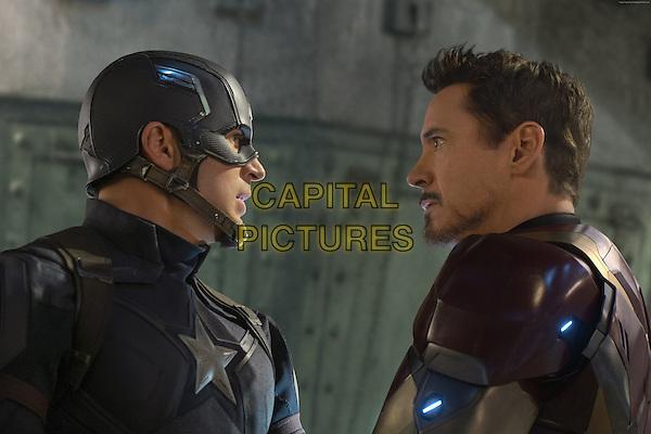 Captain America: Civil War (2016) <br /> Robert Downey Jr. &amp; Chris Evans<br /> *Filmstill - Editorial Use Only*<br /> CAP/KFS<br /> Image supplied by Capital Pictures