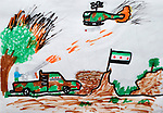 A refugee child's drawing depicts the violence from which hundreds of thousands of Syrians have fled. The drawing was done by a child in a psycho-social support group in Kamid al lawz, a town in Lebanon's Bekaa Valley, where the International Orthodox Christian Charities and other members of the ACT Alliance are assisting refugees in a variety of ways..