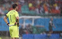 FUSSBALL WM 2014  VORRUNDE    Gruppe B     Spanien - Niederlande                13.06.2014 Torwart Iker Casillas (Spanien) ist im Regen enttaeuscht