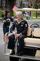 World War II Navy veteran  Loyalty day patriotic parade in small town USA