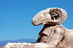 Animal statue in the film studios in Ouarzazate, Morocco.