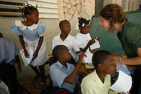 Croix des Bouquets, Haiti, April 9, 2010.Enora, 23, is among a group of young French citizens doing a 'service civique' to help Haiti schools restart, 3 months after the earthquake.