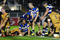 Adam Hastings of Bath United celebrates his second half try with team-mates. Aviva A-League match, between Bath United and Bristol United on September 19, 2016 at the Recreation Ground in Bath, England. Photo by: Patrick Khachfe / Onside Images