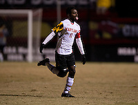 Mikias Eticha (11) of Maryland celebrates his goal during the ACC tournament quarterfinals at Ludwig Field in College Park, MD.  Maryland defeated Boston College, 2-0.