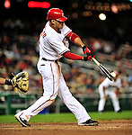 29 September 2009: Washington Nationals' infielder Ian Desmond in action against the New York Mets at Nationals Park in Washington, DC. The Nationals rallied to defeat the Mets 4-3 in the second game of their final 3-game home series. Mandatory Credit: Ed Wolfstein Photo
