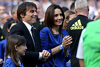 Chelsea Manager, Antonio Conte, and his wife, Elisabetta Muscarello enjoy watching the Chelsea players celebrate winning the Premier League during Chelsea vs Sunderland AFC, Premier League Football at Stamford Bridge on 21st May 2017