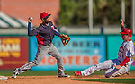 4 March 2013: Minnesota Twins infielder Daniel Santana gets a sliding Adam Ehrlich out at second, and turning a double-play during a Spring Training game against the St. Louis Cardinals at Roger Dean Stadium in Jupiter, Florida. The Twins shut out the Cardinals 7-0 in Grapefruit League play. Mandatory Credit: Ed Wolfstein Photo *** RAW (NEF) Image File Available ***