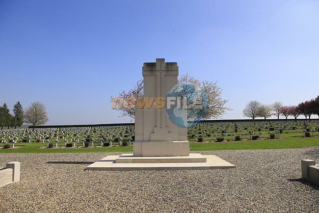 The 115th edition of the Paris-Roubaix 2017 running 257km from Compiegne to Roubaix passes by numerous war memorials including Battle of the Somme graves, France. 8th April 2017.<br /> Picture: Eoin Clarke   Cyclefile<br /> <br /> <br /> All photos usage must carry mandatory copyright credit (&copy; Cyclefile   Eoin Clarke)