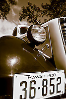 A close-up of a vintage 1937 Ford pickup truck on Maui.