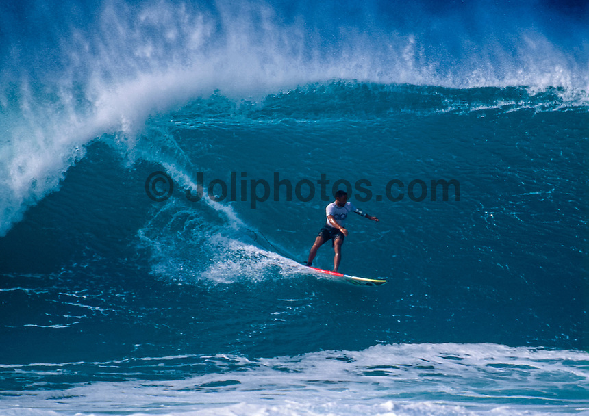 Sunny Garcia (HAW) surfing at Pipeline during the final of the 1992 Pipeline Masters on Oahu's North Shore, Hawaii. Photo: joliphotos.com