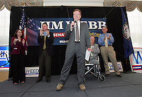 UVa student Katie Cristol, left, U.S. Congressman Criegh Deeds, 2nd from left, former U.S. Senator Max Cleland, 2nd from right, and Virginia Congress hopeful Al Weed, right, watch as Democratic Senate hopeful Jim Webb, middle, speaks to a large crowd of supporters during a rally held Monday October 30, 2006 on campus at the University of Virginia in Charlottesville, Va.