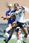 28 August 2011: Notre Dame's Lauren Bohaboy (9) and Duke's Audrey Gibson (2). The Duke University Blue Devils defeated the Fighting Irish of Notre Dame 3-1 at Fetzer Field in Chapel Hill, North Carolina in an NCAA Women's Soccer game.