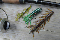 NWA Democrat-Gazette/FLIP PUTTHOFF<br /> Productive lures on Big Sugar Creek August 20 2015 included Zoom Tiny Brush Hog (from left), Strike King tube bait and Arkie Crawling Fry.