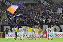 Sanfrecce Hiroshima team group,.AUGUST 11, 2012 - Football / Soccer :.Sanfrecce Hiroshima fans celebrate as Sanfrecce Hiroshima players acknowledge them after the 2012 J.League Division 1 match between Omiya Ardija 1-2 Sanfrecce Hiroshima at NACK5 Stadium Omiya in Saitama, Japan. (Photo by Hiroyuki Sato/AFLO)