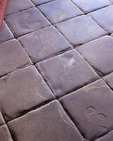 Detail of worn stone floor tiles