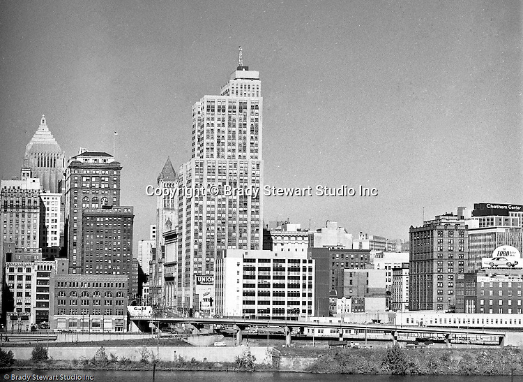 Pittsburgh Pa:  View from the south side of the Grant Building in downtown Pittsburgh - 1968.  Photographic assignment was for a brochure to highlight upgrades to the building and to solicit more tenants.  The 40 story Grant Building is located at 310 Grant Street and was built in 1929.