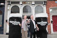 """26/7/2011. Porterhouse Celebrates Fifteen Years of Brewing with another Gold Medal. Pictured at the Sweny Chemist venue in Dublin celebrating are Peter Mosley Master Brewer and Oliver Hughes Director of the Porterhouse .The Porterhouse Brewing Company is fifteen years old and to add to the celebrations they have been awarded a gold medal for their Plain Porter. The award, which is much sought after by brewers worldwide, was bestowed upon the Porterhouse's famous Plain Porter at the Brewing Industry International Awards, dubbed, """"The Brewing Oscars"""" in a glitzy ceremony at London's Guild Hall. It is the second time the Porterhouse has received this famous accolade. The first was in 1998 and again it was the Plain Porter that brought home the gold. The awards, with approximately eight hundred and fifty entries, are structured into nine categories with thirty-two classes and medals are extremely difficult to win. Picture Collins Photos"""